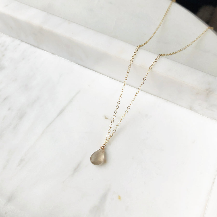 Gray Moonstone Necklace - Token Jewelry