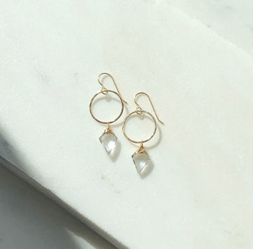 Crystal Quartz Hoops