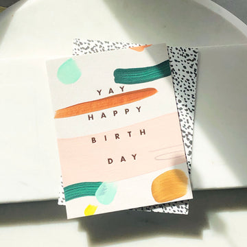 Yay Happy Birthday Card - Token Jewelry Designs