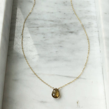 Whiskey Quartz Necklace / Final Sale - Token Jewelry Designs