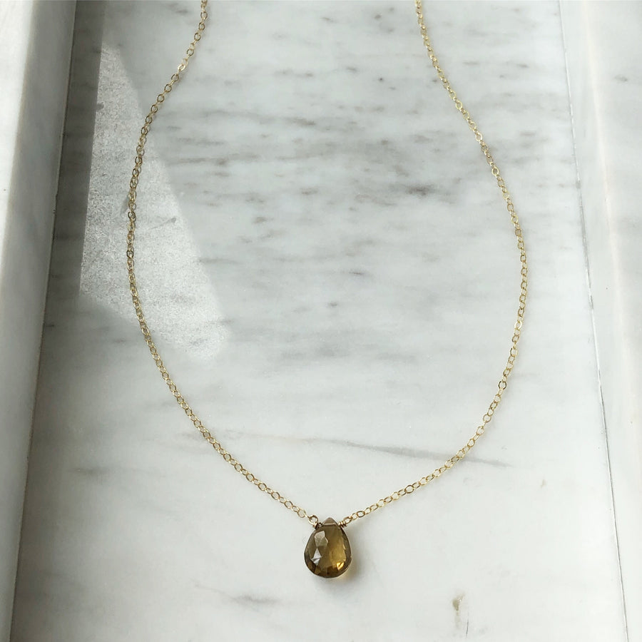 Whiskey Quartz Necklace - Token Jewelry Designs
