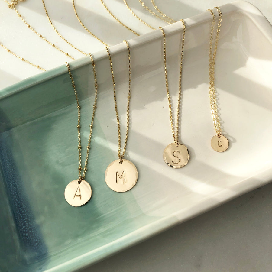 Mini Coin Necklace with Monogram - Token Jewelry