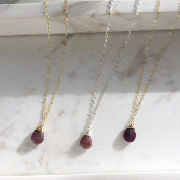 Ruby Teardrop Necklace / Final Sale - Token Jewelry