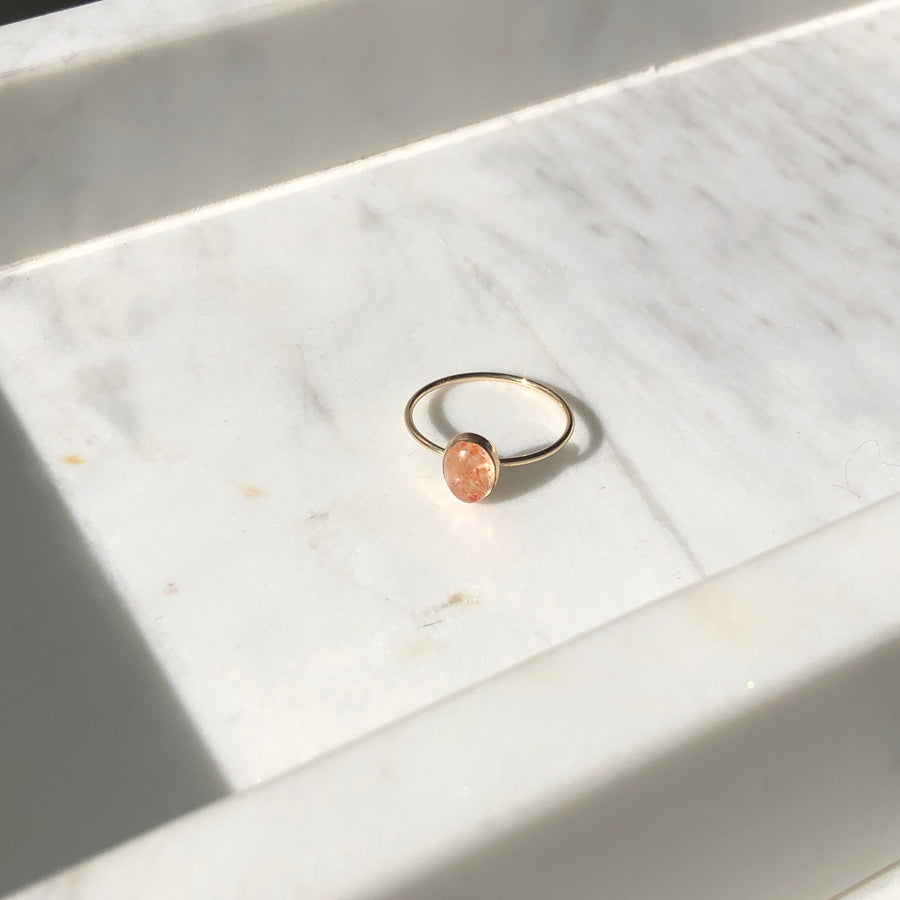 Sunstone Oval Ring - Token Jewelry Designs