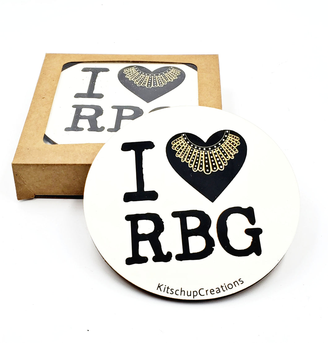 I Love RBG coaster set