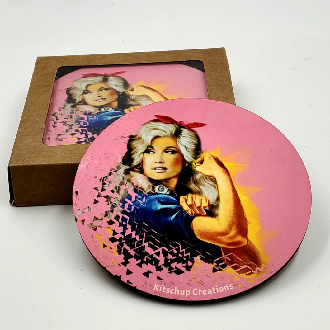 Dolly Parton/Rosie Riveter coaster set