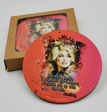 Dolly Parton coaster set