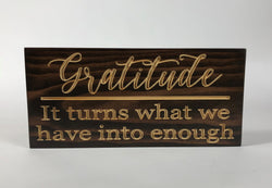Wooden Signs With Sayings - Gratitude - Plaques with Sayings- Rustic Wood Sign - Carved Sign - Engraved Wood Sign - Custom Carved Sign