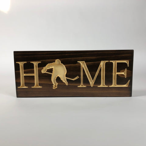 Hockey Player Home-Home Carved Wooden Signs-Hockey Player Sign-Wood Decor Signs-House Signs-Carved Wood Plaque-Hockey Home Sign-Sport Sign