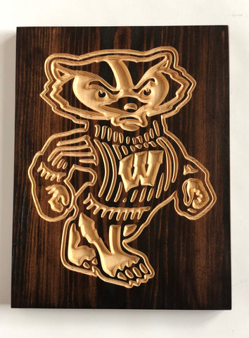 Bucky the Badger Carved Wooden Sign- Wisconsin Badgers- Buckyville - Badgers - Go, Big Red! - On, Wisconsin - Camp Randall - Red and White