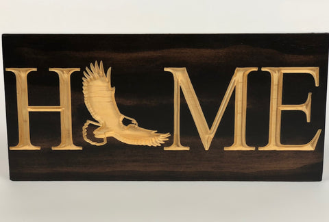 Eagle Home-Home Carved Wooden Signs-Bird Sign-Wood Decor Signs-House Signs-Home Sign-Eagle Home Sign-Carved Wood Sign-Bird Home Sign