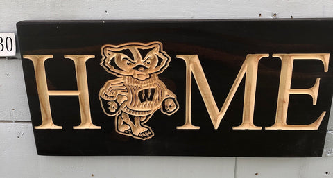Bucky Badger Home Sign - WI Home carved sign- Engraved Sign - Home WI Plaque- Wisconsin Sports Team - Home WI Buckingham carved