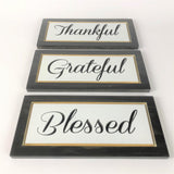 Thankful Grateful Blessed - Carved Wooden Sign - Wood Sign With Saying - Wall Collage - Rustic Wood Sign - Decorative Sign - Engraved Sign