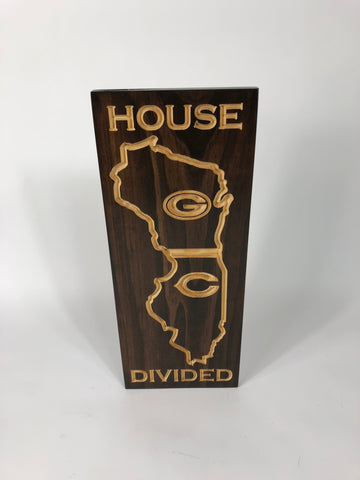 House Divided - Packer Bear Sign - Carved Wooden Sign - Rival Sign - Engraved Sign - Football - Wooden Plaque - Rustic Custom Wood Sign