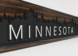 Minnesota Up North - Carved Wooden Sign - Engraved Cabin Sign - Treeline Sign - Cabin Decor  - Rustic Wood Sign  - Engraved Sign - Panoramic