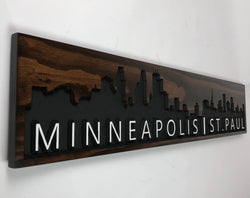 Minneapolis St Paul Skyline - Carved Wooden Sign - MSP Skyline - Cityscape Sign - Twin Cities Skyline  - Rustic Wood Sign  - Engraved Sign