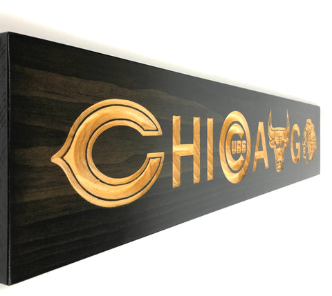 Chicago Team - Chicago Bears - Chicago Cubs - Chicago Blackhawks - Chicago Bulls - Carved Wooden Sign - Sports Sign