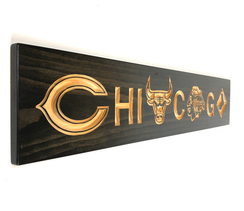 Copy of Chicago Team - Chicago Bears - Chicago White Sox - Chicago Blackhawks - Chicago Bulls - Carved Wooden Sign - Sports Sign