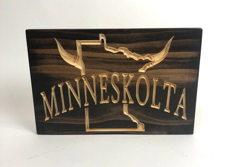 Minneskolta - Minnesota Sport - Carved Wood Sign - Unique Gift - Vikings - Sports Sign - Minnesota Viking - Sports Decor - Viking Plaque - Football