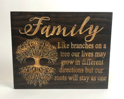 Carved Wood Sign -Family Tree - Engraved Sign - Family Roots Sign - Wooden Plaque - Rustic Custom Wood Sign - Sign with Saying - Family Poem