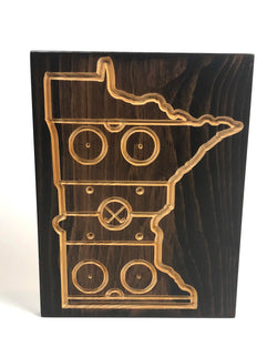 MN Hockey Sign- State of Hockey - Minnesota Hockey - Carved Wood Sign-   Hockey State - Engraved Wood Plaque - Unique Hockey Rink - Rustic