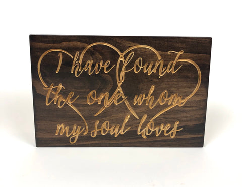 Engraved Wood Plaque- Song of Solomon -Valentine's Day Gift-Wooden Sign with Saying-Carved Sign- Valentine Sign -Anniversary Gift