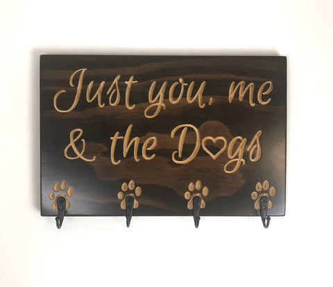 Carved Wooden Sign - You me and dogs - Sign with Saying - Key Holder for Wall - Dog Lover Sign - Leash Hook - Dog Walker - Dog Leash Holder