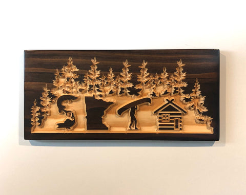 Minnesota Sota Sign - Carved Wooden Sign - Lake House Sign - Minnesota Cabin - Cabin Decor - Lodge Sign  - Welcome Cabin Sign - MN Wood Sign