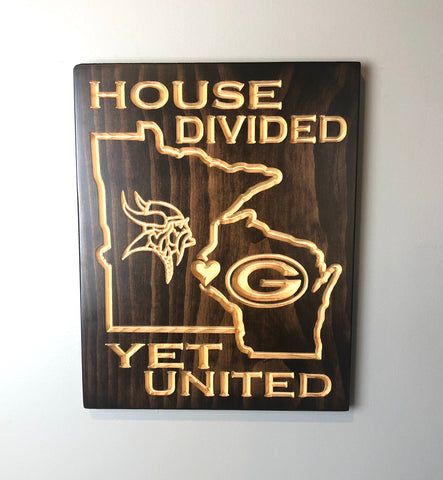 House Divided - Viking Packer Sign - Carved Wooden Sign - Rival Sign - Engraved Sign - Football - Wooden Plaque - Rustic Custom Wood Sign