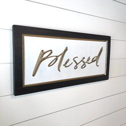 Carved Wooden Sign- Blessed Wood Sign - Wood Sign With Saying -Blessed - Wall Collage - Rustic Wood Sign - Decorative Sign - Engraved Sign