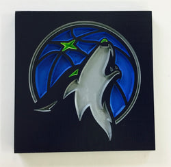 Minnesota Timberwolves Carved Wooden Sign - MN Wolves - Crunch the Wolf Mascot