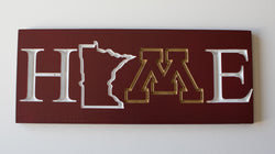 Minnesota Golden Gophers Home Sign Maroon and Gold Carved and Painted Wood Sign SKI U MAH University of Minnesota Minnesota Pride