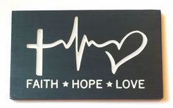 Faith Hope Love Carved Wood Sign 1 Corinthians 13 Rustic Wood Sign Heartbeat Cross Heart