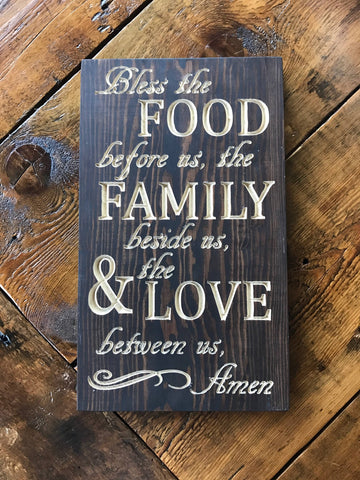 Bless the Food before us, Family beside us,  Love between us - dinner prayer -wooden signs - prayer before meals - grace before meal