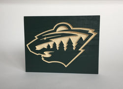 MN Wild Sign- Minnesota Wild - Minnesota Wild Carved Wood Sign-   Minnesota State of hockey Man Cave Sign NHL Hockey Drop the Puck