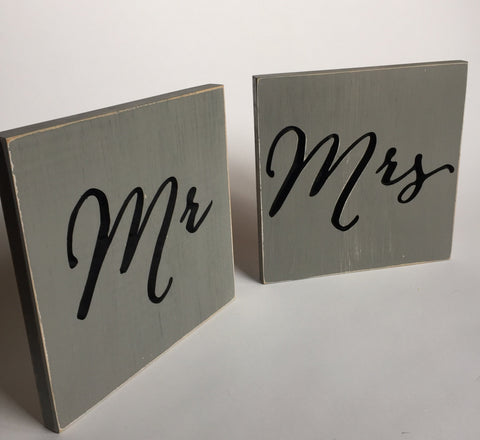 Mr Mrs sign - Wedding Chair Sign Mr and Mrs Chair Signs- Mr and Mrs ...