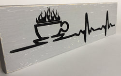 Coffee Heartbeat - Coffee Heartbeat Kitchen Carved Wood Sign - Coffee Sign - Desk Sign - Office Sign