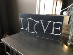 MN Home Sign - Love Minnesota - Minnesota Sign - Love Sign - State Sign - Rustic State Sign - MN Love - MN home- Minnesota Wall art