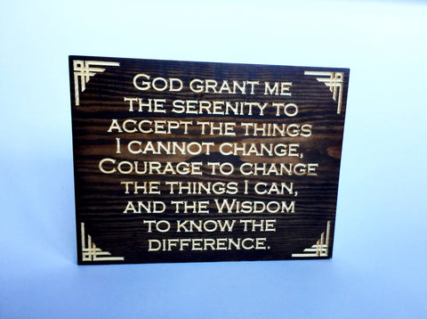 Carved Wooden Sign - Serenity Prayer Sign - Serentity Prayer Wall Art - Wood Sign With Sayings - Engraved Sign - Wall Sign - Rustic Sign
