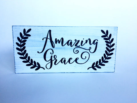Wood Sign With Saying - Amazing Grace - Rustic Wood Sign - Carved Wood Sign - Rustic Wall Art - Christian Gift -Engraved Sign