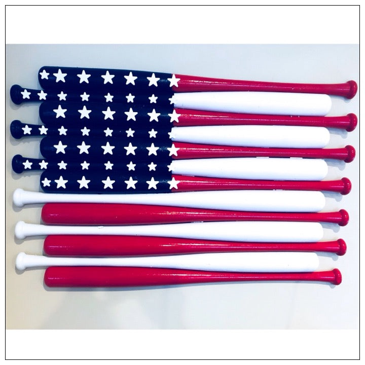 Custom Baseball Bat Flag in red, white, and blue - The Canteen