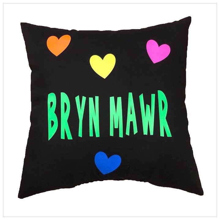 Custom Camp Neon Hearts Pillow
