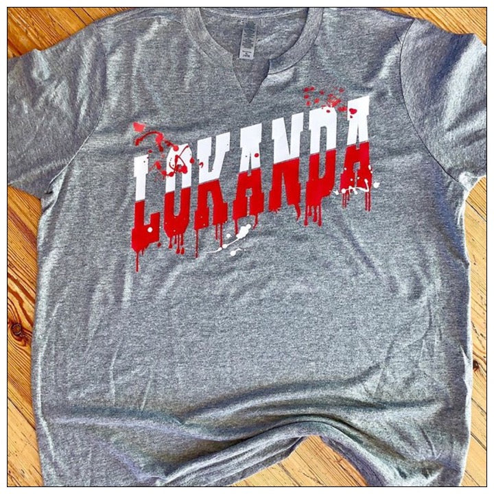 Custom Camp Rising Dripping Varsity T Shirt - The Canteen - Lokanda