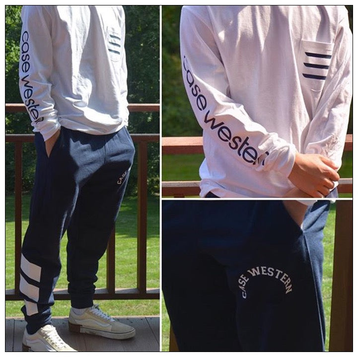 Tri Stripe Frocket Long Sleeve College T-shirt and joggers