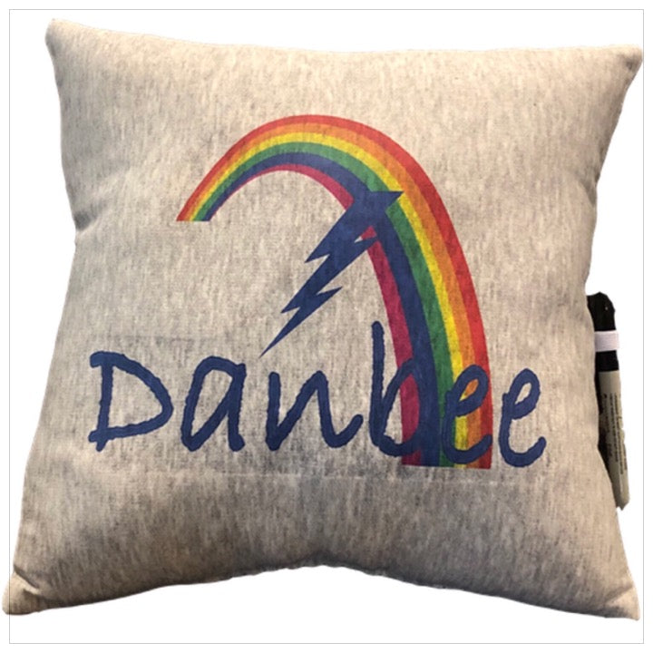 Custom Camp Rainbow Bolt Pillow Gray- The Canteen - Danbee
