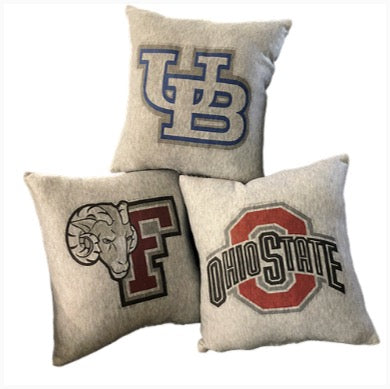 College Logo Sweatshirt Pillow - Fordham Buffalo Ohio State The Canteen
