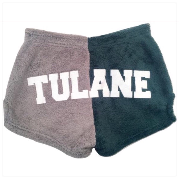 Fuzzy Color Block College Shorts with Glitter