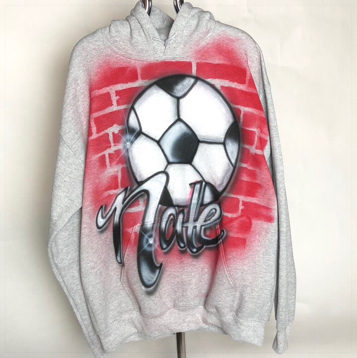 Airbrushed Sweatshirt soccer Ball and red brick pattern