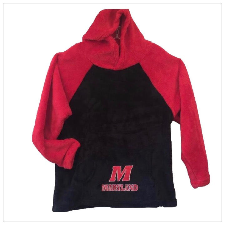 Fuzzy Color Block College Hoodie