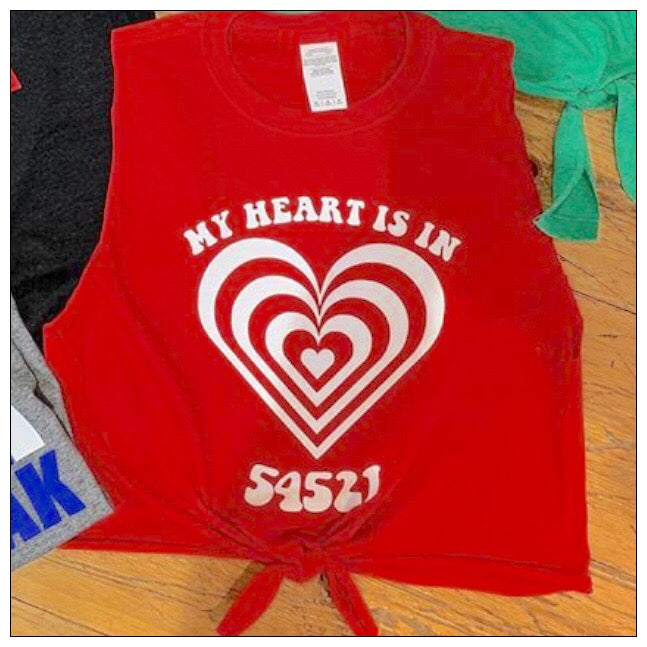 Custom Camp My Heart Tie Front Muscle Tank